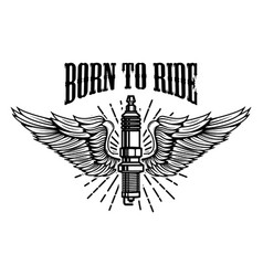 Born to ride spark plug with wings isolated on vector