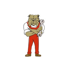 Bulldog Mechanic Arms Crossed Spanner Cartoon vector image