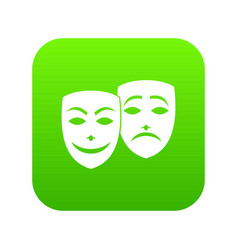 carnival mask icon digital green vector image
