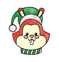 Cartoon face squirrel christmas scarf image vector
