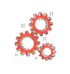 cartoon gear icon in comic style gearwheel vector image