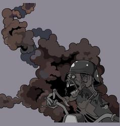 Cartoon scary screaming zombie in a helmet vector