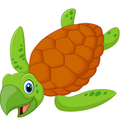 cartoon smiling turtle vector image