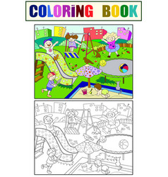 Childrens playground coloring vector