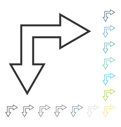 Choice arrow right down icon vector