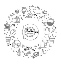 coffee and cake time doodles hand drawn sketchy vector image