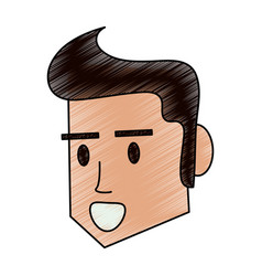 Color pencil side face man with hairstyle vector