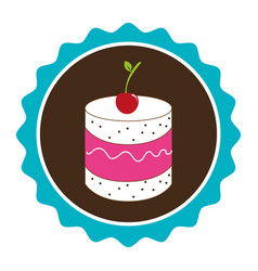Colorful circular border with dessert with cream vector
