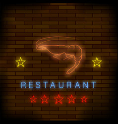 colorful neon lobster restaurant sign vector image