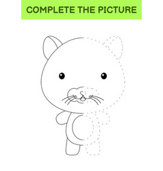 Complete picture cute hamster coloring vector