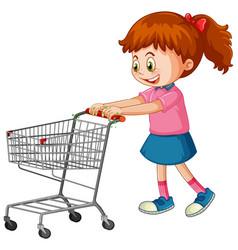 Coronavirus theme with girl pushing shopping cart vector