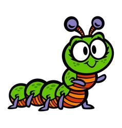 Cute crawling caterpillar bug cartoon vector