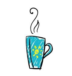 doodle cup tea vector image