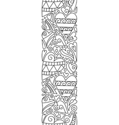 Doodle hearts seamless border entangle vector