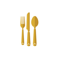 Eat logo with spoon knife and fork gold color icon vector