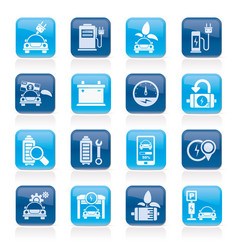 ecology and electric car icons vector image