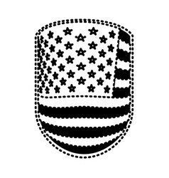 Emblem with flag united states of america black vector