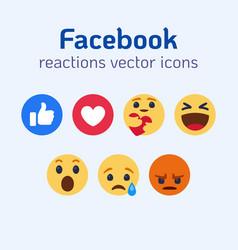 facebook reactions emoji icons set vector image
