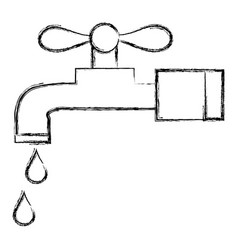 Figure clean metal faucet with water drops vector