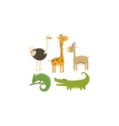 flat set african animals wild creatures vector image