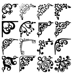 Floral black and white corners set vector