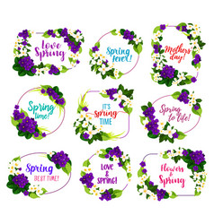 flower blosoom frame icon of spring holiday design vector image