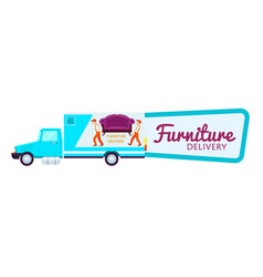 furniture delivery sticker with freight truck vector image