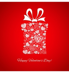 Gift box made of small hearts vector