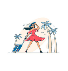 Girl on vacation with luggage vector