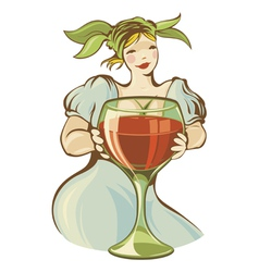 Girl with big wineglass vector image
