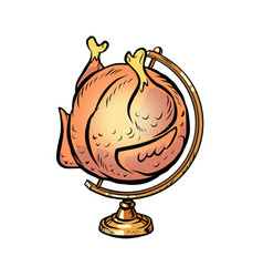 globe international grilled chicken on a spit vector image