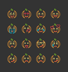 Halloween flat and line emoticon face icons set vector