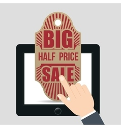 Hand touch tablet tag big half price sale vector