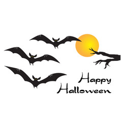 happy halloween card with scary flying vampire vector image