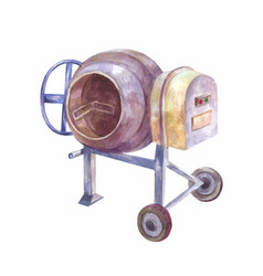 Home concrete mixer isolated watercolor drawing vector