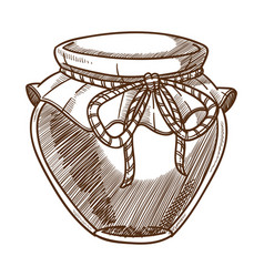 Honey jar isolated sketch organic food apiary vector
