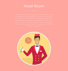 Hotel room poster with circle icon of bellhop vector