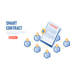 isometric web banner smart contract in the center vector image