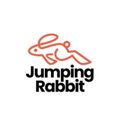 Jumping rabbit hare bunny monoline logo icon vector