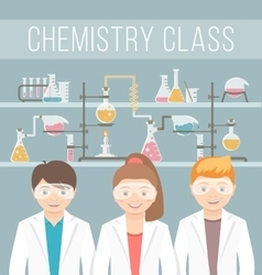 Kids in chemistry class flat education concept vector image