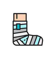 Leg fracture plaster elastic bandage flat color vector