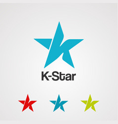 letter k star logo icon element and template vector image