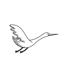 Line beauty stork animal with wings vector