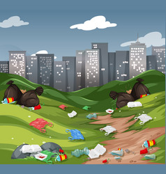 litter in the urban park vector image