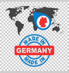 made in germany stamp world map with red country vector image