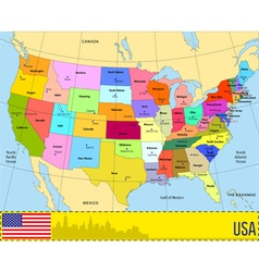 Map of USA with states and their capitals vector