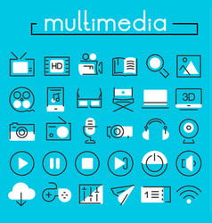 multimedia linear icons collection vector image