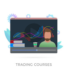 Online trading courses flat icon concept vector