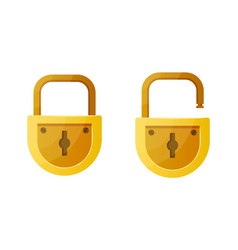 Open and closed lock cartoon data encryption vector