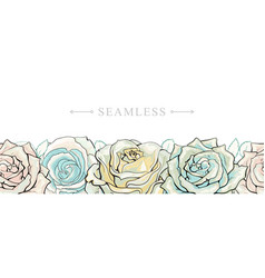 Pastel colored roses border seamless pattern with vector